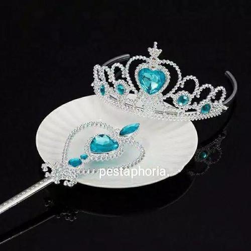 Foto Produk Mahkota Princess / Tiara Anak / Children Crown + Tongkat Peri - MhkotaTngktBiru dari Pestaphoria