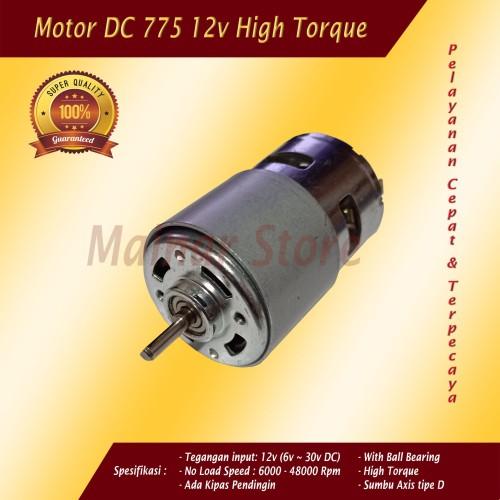 Foto Produk Motor DC 775 12v High Torsi Speed Dinamo Mesin Power Tools DIY 24v 30v dari Mainar Store