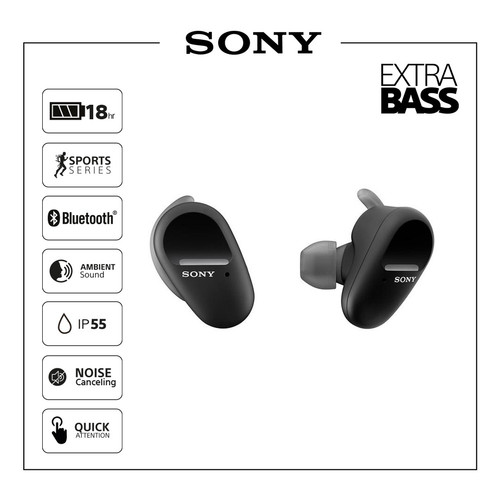 Foto Produk SONY WF-SP800N Truly Wireless NC Sport / SP800N / SP-800N - Hitam dari Sony Audio Official