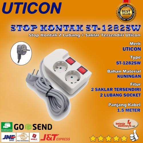 Foto Produk Stop Kontak 2 Lubang + Saklar tersendiri + Kabel UTICON ST-1282 SW dari Belanja Elektronik