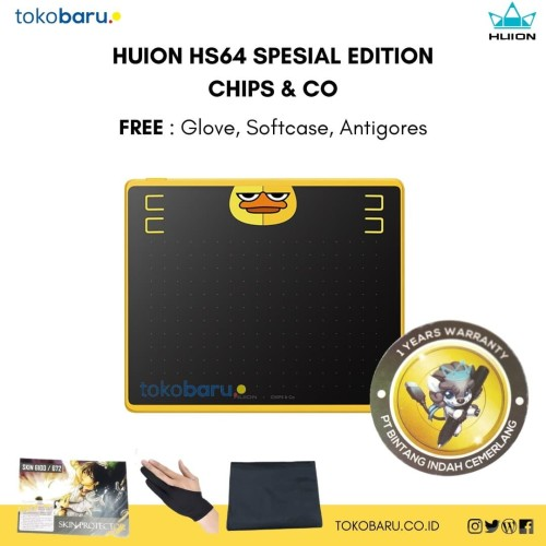 Foto Produk HUION HS64 Spesial Edition CHIPS & Co Pen Tablet Pad support Android dari jcb online