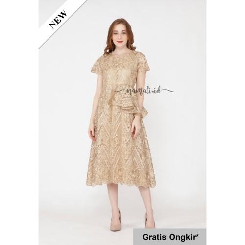 Foto Produk Elliana Dress Party / Gaun Pesta - Brukat Premium - Gold, S dari namali_id