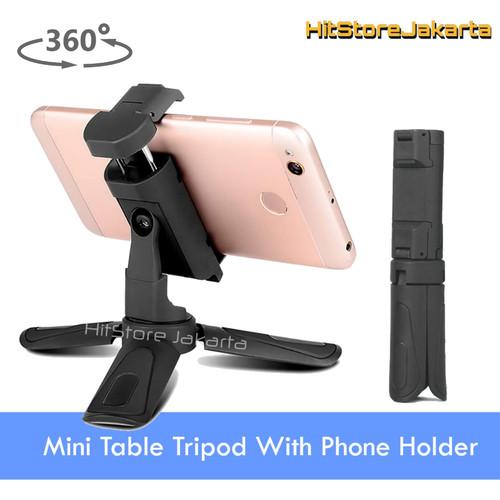 Foto Produk Tripod Mini Handphone Stand Phone Holder 360 Rotate Mini Tripod Camera - Hitam dari HitStore_Jakarta