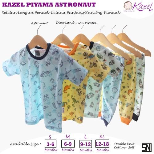 Foto Produk KAZEL PIYAMA KANCING PUNDAK MOTIF UNISEX 0-18BULAN - SETELAN PENDEK, BAHU-M dari Kazel Babywear