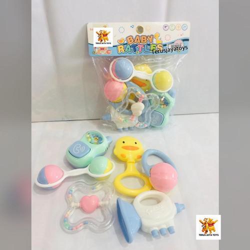 Foto Produk MAINAN BABY PLAY SET ISI 7PCS MAINAN BAYI KERINCINGAN NEW - Biru isi 6pcs dari Terus Jaya Toys