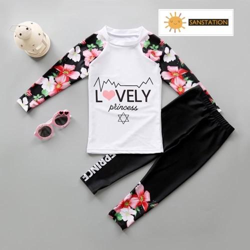 Foto Produk SANSTATION Baju renang Korea lengan panjang/Baju renang anak perempuan - Hitam, L dari sanstation