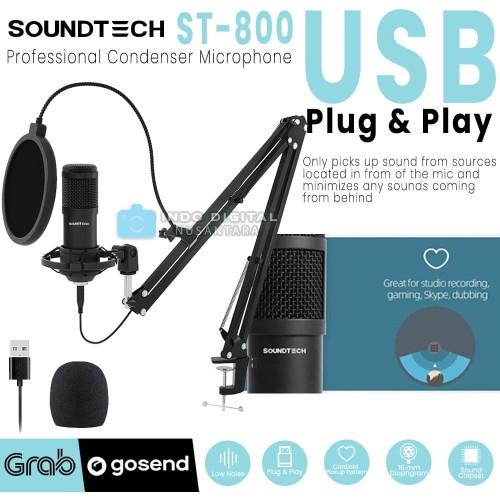 Foto Produk SOUNDTECH Microphone USB Plug & Play / Mic BM 800 / BM 8000 / Fifine dari Indo Digital Nusantara