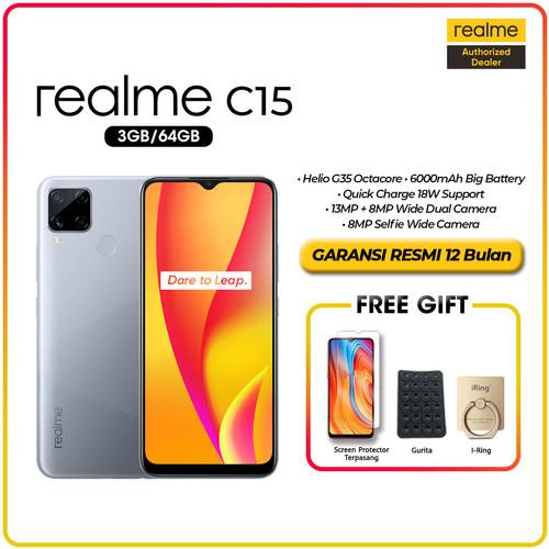 Foto Produk realme C15 3GB/64GB 4GB&64GB 6000mAh,18W Quick Charge,Quad Camera - Seagul Silver, Ram 3GB 64GB dari kayarasa22