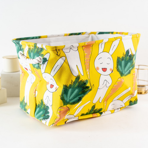 Foto Produk ARAMI Thick Foldable Storage Box Kotak Penyimpanan Baju Kanvas Tebal - Yellow Rabbit dari Arami Lifestyle