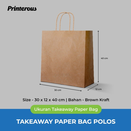 Foto Produk Paper Bag Polos / Kantong Kertas Polos - 30x12x40 cm dari Printerous