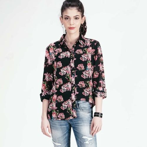 Foto Produk LOGO JEANS - KEMEJA LENGAN 3/4 STRIPE ROSE BLACK SHIRT ( 23422L9BK ) - Hitam, M dari Logo Jeans