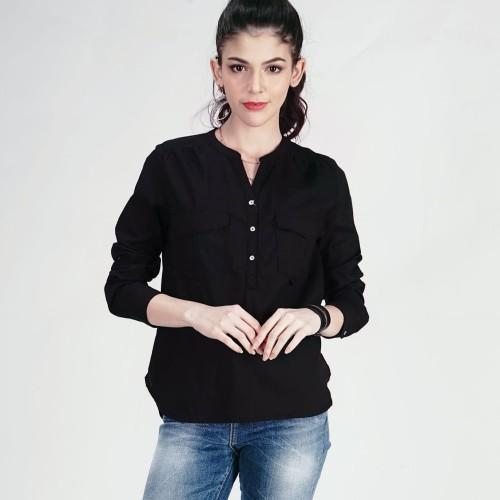 Foto Produk LOGO JEANS - KEMEJA LENGAN PANJANG BIG POCKET BLACK ( 24453L5BK ) - Hitam, S dari Logo Jeans