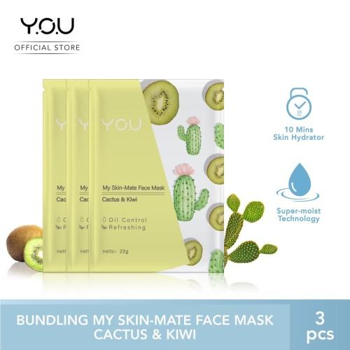 Foto Produk My Skin-Mate Face Mask 3 in 1 by You Makeups - Cactus & kiwi dari YOU Makeups Official