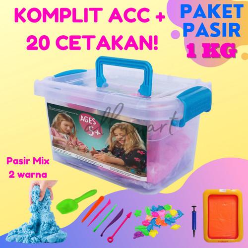 Foto Produk Paket Pasir Ajaib Play sand Set 1 KG CETAKAN banyak Free Tatakan dari cabokimurah