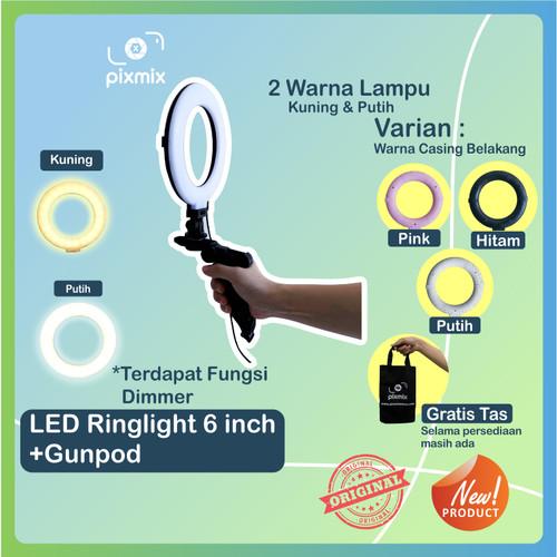 Foto Produk LED Mini RingLight bicolour + dimmer - ringlight vlogger + Tripod - Merah Muda dari pixmix