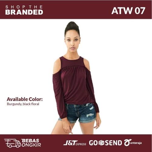 Foto Produk Blouse Wanita - Blouse Cut Off Shoulder Long Sleeve [ATW 07] - ATW 07 BURGUNDY, XS dari Millenia