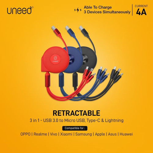 Foto Produk UNEED 3 in 1 Retractable Kabel Micro Lightning Type C - UCB31 - RED dari Uneed Indonesia