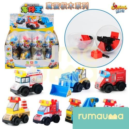 Foto Produk RUMAUMA Mainan Car King Egg Isi Lego Toys Mobil Anak Laki Murah Unik dari Rumauma