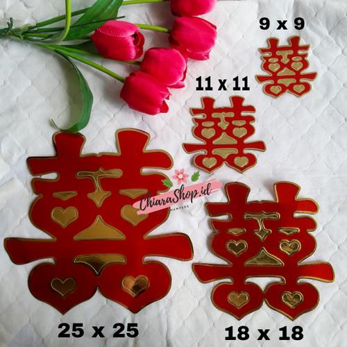 Foto Produk Tempelan Shuang Xi / Sticker Shuang Xi / Tempelan Double Happiness - 9 x 9 dari Chiarashop_id