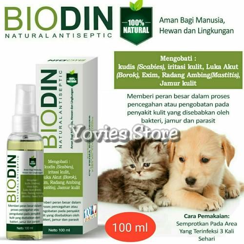 Foto Produk Biodin Spray Natural Antiseptic 100ml - Obat Luka Hewan Herbal Alami dari Yovies Store