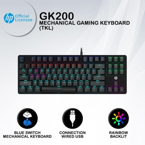 Foto Produk Keyboard Gaming HP GK200 - RGB Blue Switch TKL Mechanical Keyboard dari HP Gaming Official