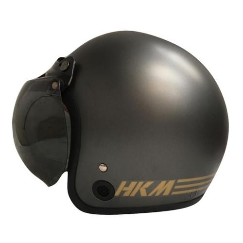 Foto Produk Helm Retro HKM Line Gunmet Doff(Free Kaca Helm) dari GudangHelm