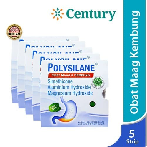 Foto Produk ( 5 Strip )Polysilane Tablet / Obat Maag / Masuk Angin / asam lambung dari CENTURY HEALTHCARE