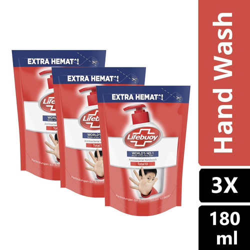Foto Produk Lifebuoy Sabun Cuci Tangan Total 10 Refill 180Ml Multipack dari Unilever Official Store