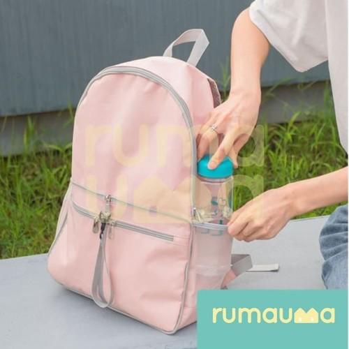 Foto Produk RUMAUMA Tas Ransel Lipat Korea Foldable Backpack Travel Unisex Bags - Merah dari Rumauma