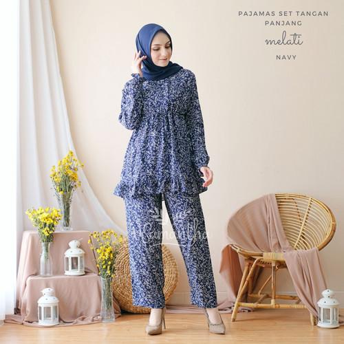 Foto Produk vSamantha Pajamas Set Melati BUSUI ( Tangan Panjang + Celana Panjang ) - Navy dari vSamantha