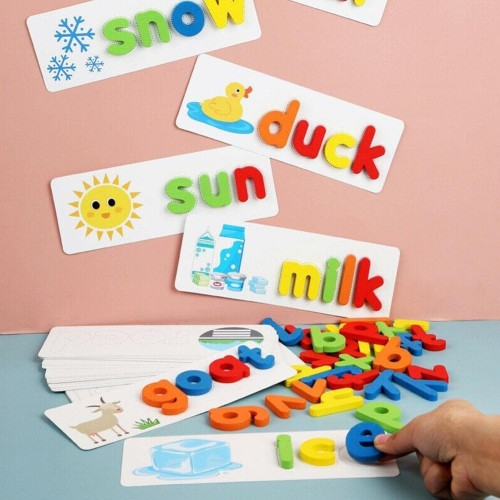 Foto Produk MB298 Mainan Edukasi Anak Spelling Game Puzzle Knob Kayu Wooden Kartu dari Mmtoys Indonesia