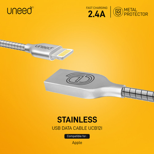 Foto Produk Uneed Stainless Steel Kabel Data Lightning Fast Charging 2.4A - UCB12i - Silver dari Uneed Indonesia