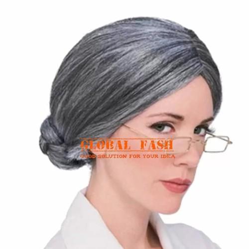 Foto Produk Wig Sanggul Nenek Tua / rambut nenek palsu / wig sanggul kostum dari Global Fash