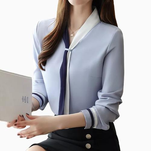Foto Produk Blus Wanita Gaya Korea Lengan Panjang Murah Terbaru - Jfashion Arra - Biru, M dari j--fashion