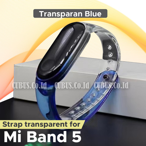 Foto Produk Strap Gradation Color Transparent/Clear Rubber For XIAOMI Mi Band 5 - Blue dari Cubus_Co_ID
