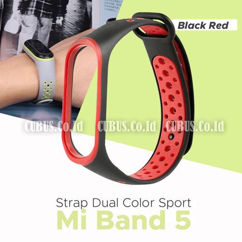 Foto Produk Band Strap Soft Rubber Dual Color Sport Strap for Xiaomi MI Band 5 - Red Black dari Cubus_Co_ID