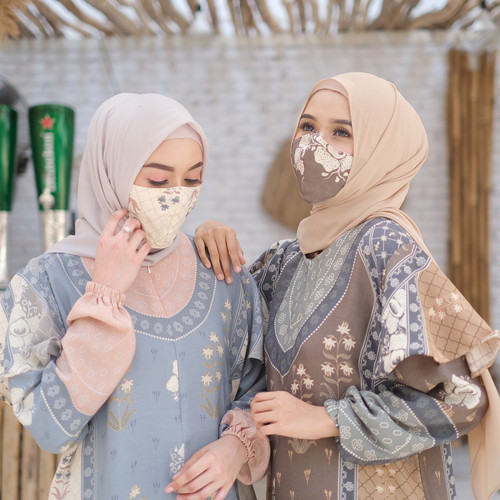 Foto Produk [REAL PICTURE] MASKER KAIN FASHION ASHNA EARLOOP TANAH ABANG PGMTA - Choco dari FaVia Shop