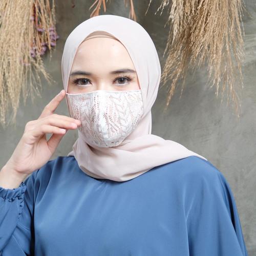 Foto Produk [REAL PICTURE] MASKER KAIN EARLOOP BRUKAT FASHION TANAH ABANG PGMTA - White dari FaVia Shop
