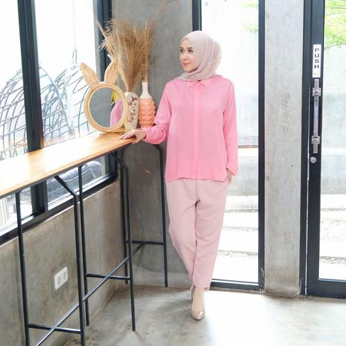 Foto Produk [REAL PICTURE] SENJA REGULAR SHIRT KEMEJA RAYON TANAH ABANG PGMTA - PINK dari FaVia Shop