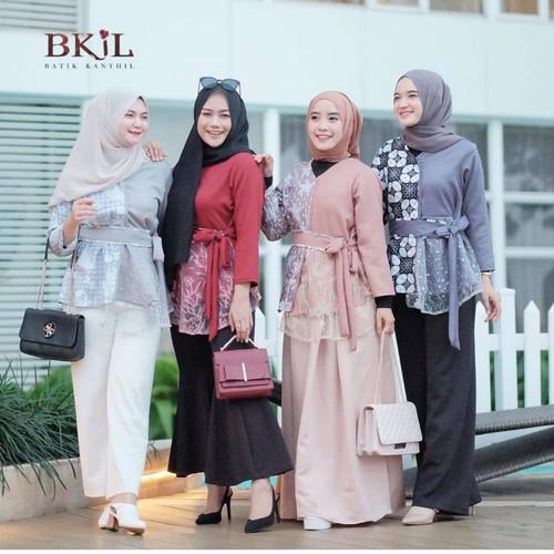 Foto Produk (Real Video) Blouse Batik Modern Kombinasi Brokat / Baju Atasan Wanita - Maroon, L dari Bajukuuh