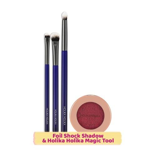 Foto Produk Holika Holika [BUNDLING] Foil Shock Shadow & Eyeshadow Brush - Smoked Cherry dari Holika Holika Indonesia