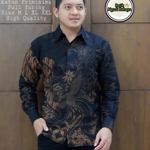 Foto Produk Kemeja Batik Pria Wahyu Tumurun Size M-XXL premium baju batik Pria - Hitam, M dari AdeevaBatik
