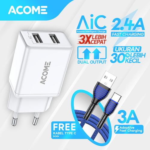 Foto Produk ACOME Charger Original 2.4A AiC Fast Charging Garansi 1 Thn Free Cable - Type-C dari Acome Indonesia