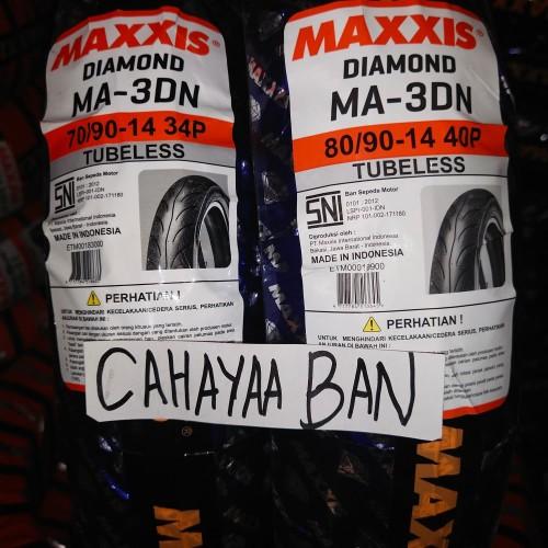 Foto Produk BAN MOTOR MATIC MIO 1 PASANG, DPN & BLK MAXXIS 70/90 & 80/90-14 TUBLES dari cahayaa ban