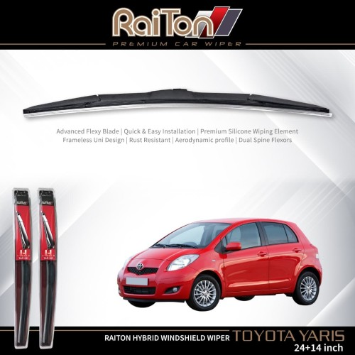 "Foto Produk Raiton Sepasang Wiper Hybrid Kaca Depan Mobil Toyota Yaris 24""&14"" dari Raiton"
