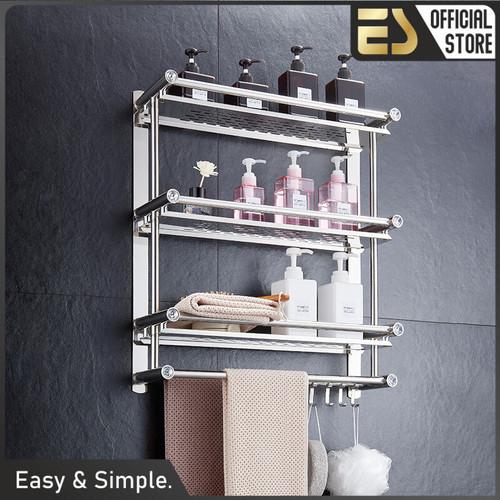 Foto Produk ES Rak Kamar Mandi Dinding Rak Bumbu Dapur Stainless Steel Bebas Bor 3 - 1 Tingkat dari ES Official Store