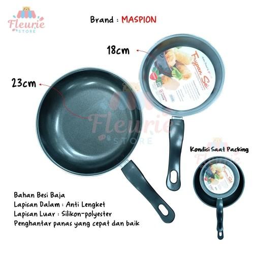 Foto Produk Teflon Frypan Set 2in1 18cm dan 23cm / Fry Pan Wajan Murah by Maspion dari Fleurie Store