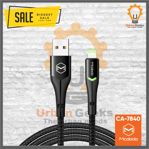 Foto Produk Mcdodo Lightning Kabel data iphone Fast charge 2A with LED CA7840 - Hitam dari Urban Geeks