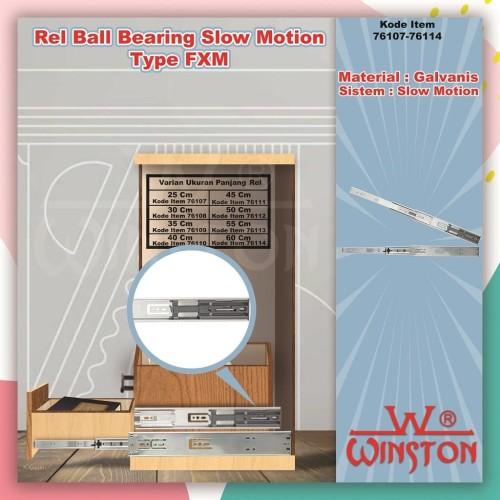 Foto Produk REL LACI SLOW MOTION WINSTON BALL BEARING DOUBLE EXTENSION FXM 500 mm dari WINSTON SUKSES ABADI