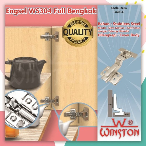 Foto Produk Engsel Sendok Full Bengkok WS304 WINSTON Stainless Soft Close Slow dari WINSTON SUKSES ABADI